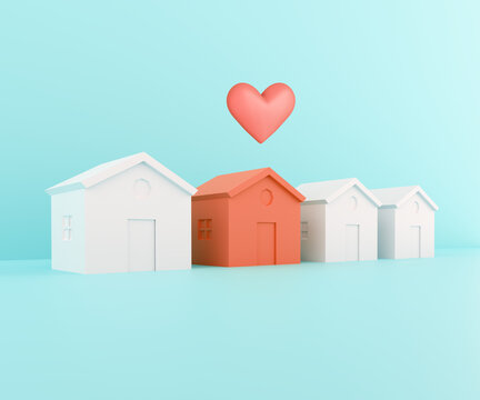 White houses and one red. Red papercraft house with heart, beloved family home concept. Searching for real estate property, house or new home. 3d illustration