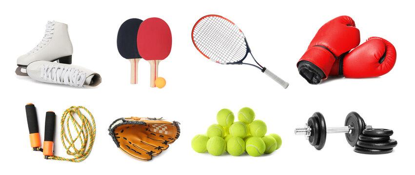 Set of different sport equipment on white background. Banner design