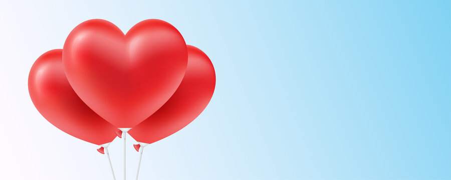 Heart shaped red balloons, on the blue background. Horizontal vector banner, for romantic, or holiday design decoration.