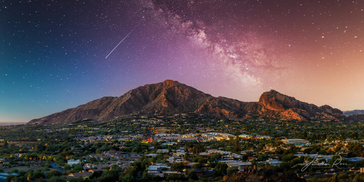 Camelback Mountain in phoenix arizona with milky way galaxy