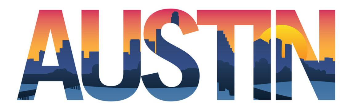 Austin Texas City Skyline Typography Overlay Isolated Vector Illustration