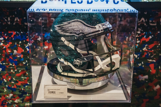 New York, USA - May 28, 2018: Swarovski Eagles helmet on sale in NFL Experience in Times Square, New York, a first-of-its-kind live action attraction, combining interactive games and 4D theatre.