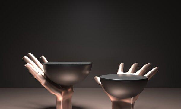 Round pedestals, white black cylinder - 3d render illustration. Sculptural composition - Open gold hand palm. Empty podium, base for product promotion. Luxury Black dark background