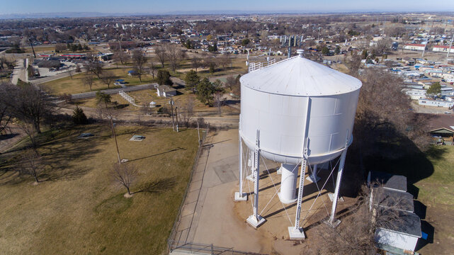 water tower for water storage during a drought
