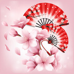 Realistic japanese folding fan with sakura flowers ornament on pink vector illustration card template. card with stylized cherry blossom.