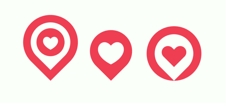 Favourite places icon set, liked places pin collection, love location pointer with heart, isolated vector logo template.