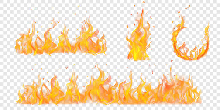 Set of translucent burning arc and campfires of flames and sparks on transparent background. For used on light illustrations. Transparency only in vector format