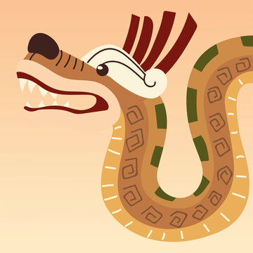 traditional aztec snake culture ornament icon design