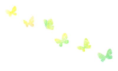 水彩テクスチャシルエットの蝶