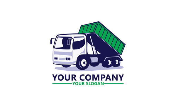 Modern Flat Isolated garbage truck vector logo template illustrations, editable eps 10