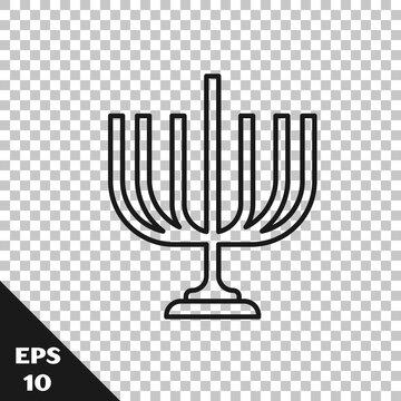 Black line Hanukkah menorah icon isolated on transparent background. Hanukkah traditional symbol. Holiday religion, jewish festival of Lights. Vector.