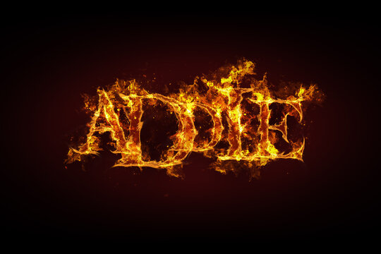 Addie name made of fire and flames