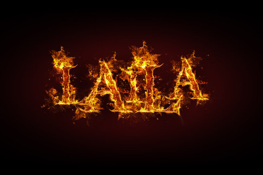 Laila name made of fire and flames