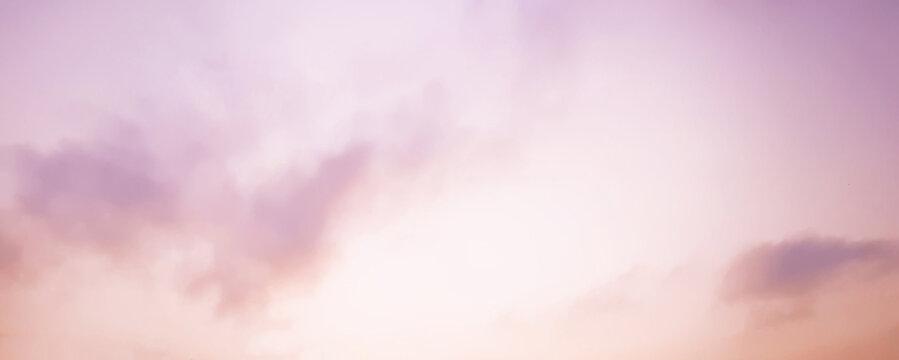Delicate light purple peach sky in sunset