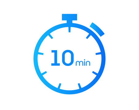 10 Minutes timers Clocks, Timer 10 mins icon, countdown icon. Time measure. Chronometer vector icon isolated on white background