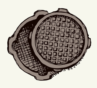 Round manhole cover. Vector drawing