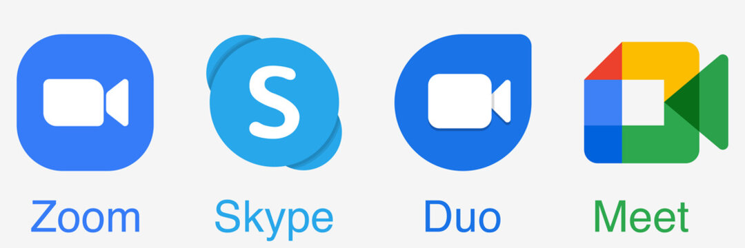 Zoom, skype, duo and meet. Online video conference. Remote meeting service. Zoom and Skype icon. Google Duo and Meet app. Editorial vector. Rivne, Ukraine - December 12, 2020.