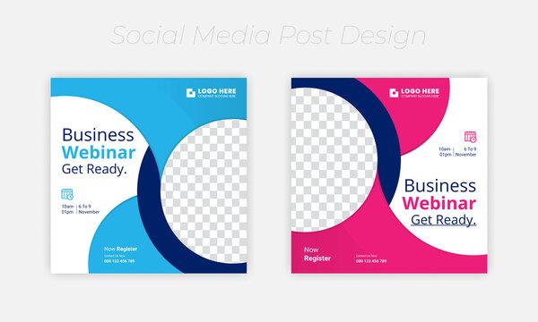Webinar social media banner, for Business Live webinar or conference invite and Online business promotion banners design set.