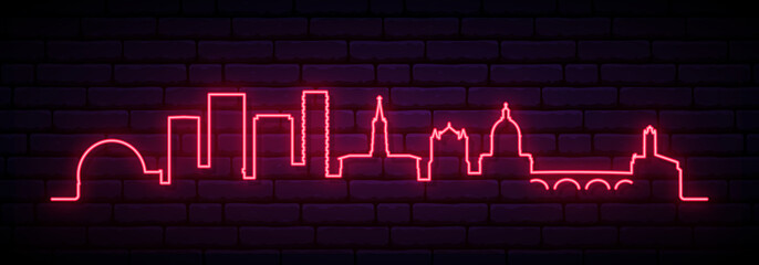 Red neon skyline of Toulouse. Bright Toulouse City long banner. Vector illustration.