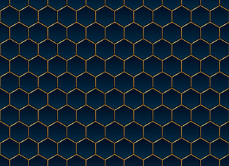 Abstract blue and gold hexagon pattern background and texture