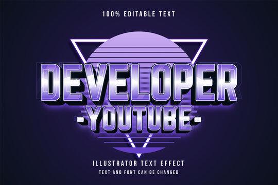 Developer youtube,3d editable text effect blue gradation purple neon text style