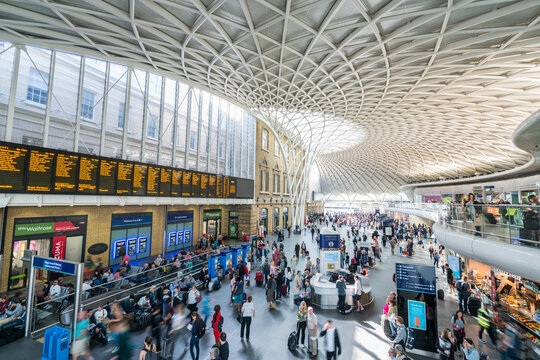 London,UK-August 20 2018:Interior of Kings Cross - St. Pancras Station Western Concourse