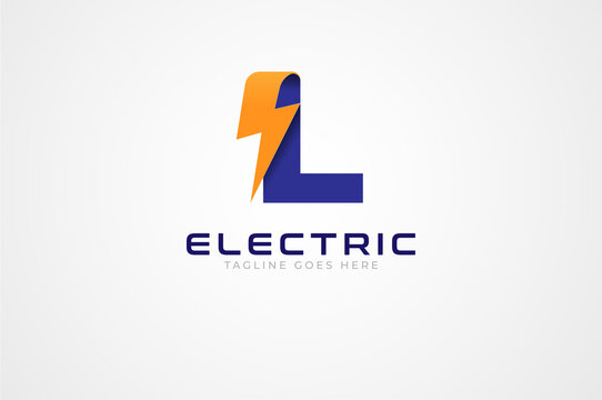 Initial Letter L Electric Logo, letter L and thunnder bolt combination isolated on white background, Flat style Logo Design Template element, vector illustration