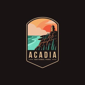 Emblem patch logo illustration of Acadia National park on dark background