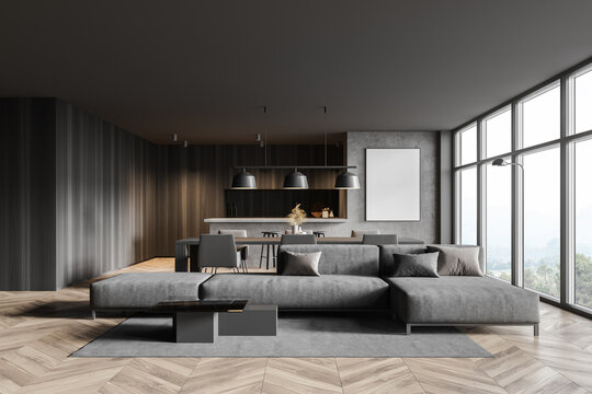 Panoramic gray living room with poster