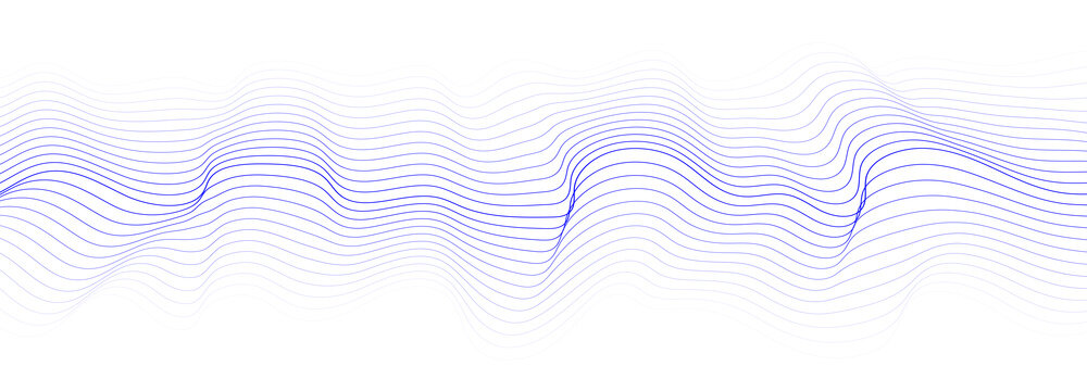 Abstract dynamic wave of lines. Perspective grid. Big data. Network. Digital background. Vector