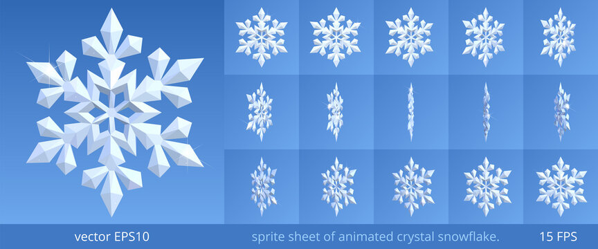 Animated crystal snowflake. Turning 3d icon of winter and frost. Vector sprite sheet for GIF, html, flash animation. Looped frame sequence, 15 FPS. Sparkling pieces of snow on a blue background.