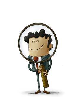 man is holding a large magnifying glass through which he looks smiling. search concept, isolated
