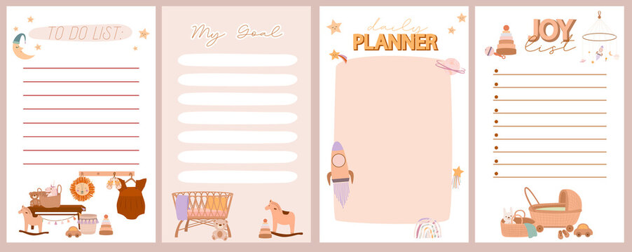 Set of weekly and daily planner, joy list, to do list with cute boho baby doodle in Scandinavian style. Editable vector illustration.