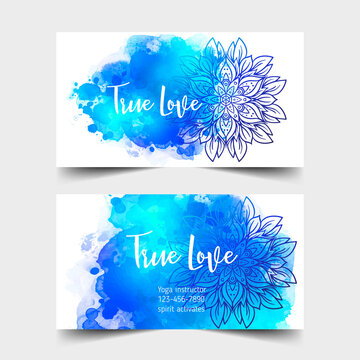 Yoga card design. Colorful template for spiritual retreat or yoga studio. Ornamental business cards, oriental pattern over watercolor painted background. Vector illustration.