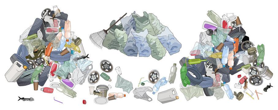 Pile of garbage, garbage bags adn rake.