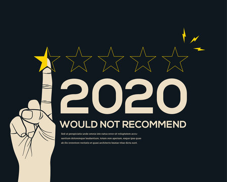 Low customer star rating review for 2020 year. Bad year or crisis year concept. End of the year. Vector illustration.