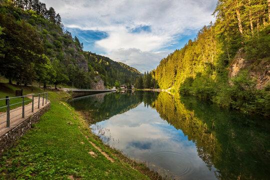 Emerald lake (Lago smeraldo) landscape, Non Valley, Italy