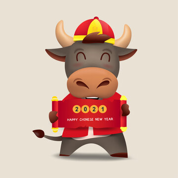 Happy Chinese new year 2021 Ox zodiac. Cute cow character in red costume set. Translated: Wealth.