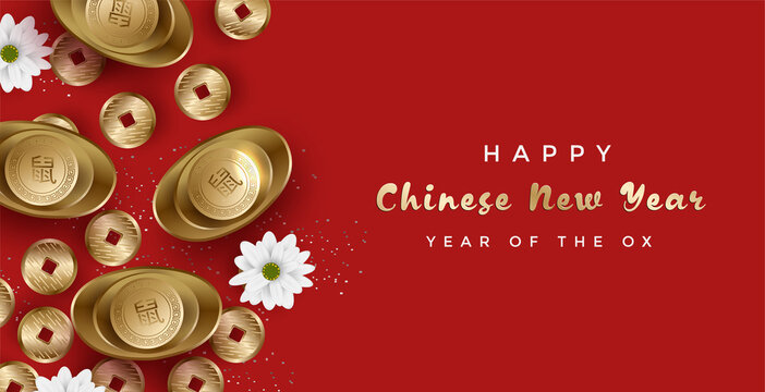 Happy Chinese new year with gold ingot and money elements. Modern China culter banner or background. Translated: Wealth