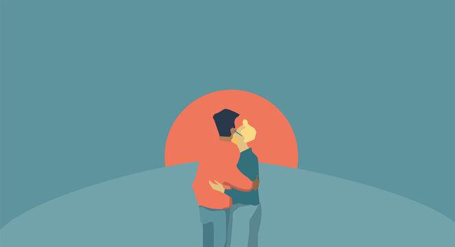 Men intimate moment, men Love, gay hug, LGBT