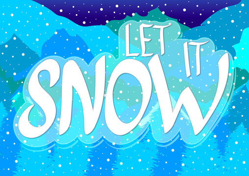 Let it snow, Winter poster design template, Xmas time, holiday banner, vector illustration