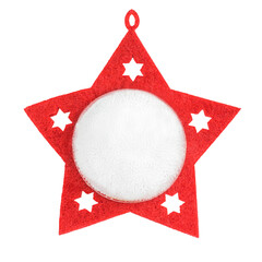 a red christmas star on a white background