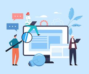 Fototapeta Online internet education concept. Vector flat cartoon graphic design illustration