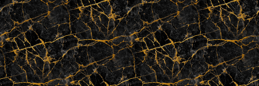 Black marble with golden veins. Natural stone texture. Abstract luxury background.