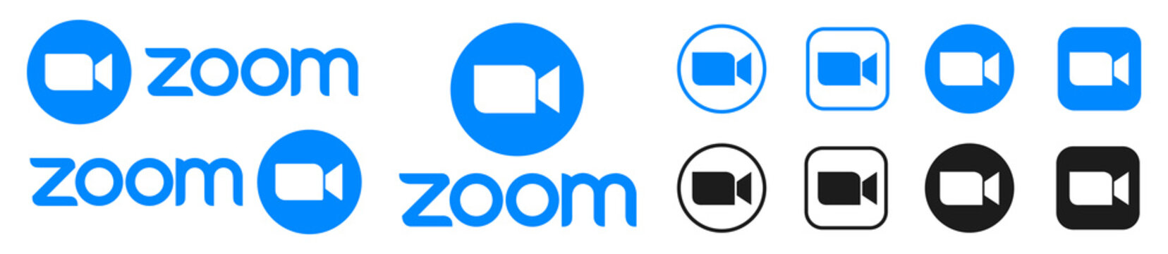Kiev, Ukraine - December 13, 2020: Zoom camera icon - popular application for video communications platform for video and audio conferencing, webinars, chat. Zoom video logo. Editorial vector