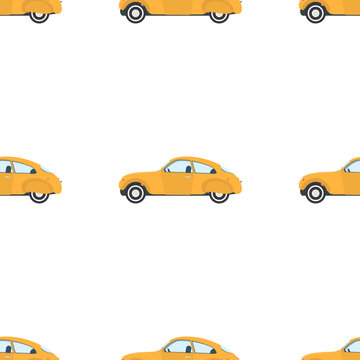 Seamless pattern with yellow vintage car. Suitable for paper wrapping, backgrounds, prints and books. Vector.