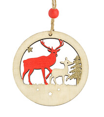 Wooden ball ornament with deer for christmas decorations isolated on white background