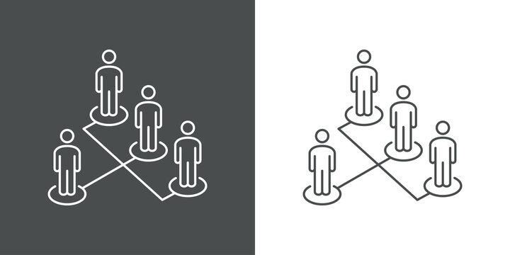 Símbolo organización. Icono plano grupo de personas en diagrama de flujo en perspectiva con lineas en fondo gris y fondo blanco