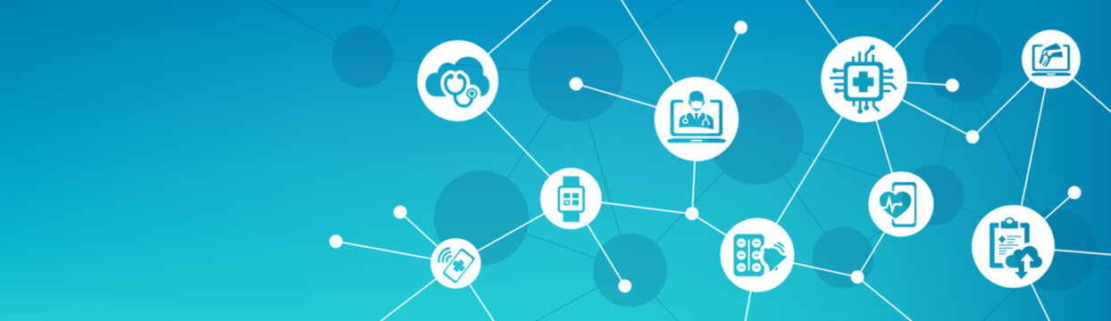 digital healthcare / smart health devices / iot technology in medicine vector illustration. Concept around medical big data, cloud applications, wearable health monitoring, digital / virtual diagnosis