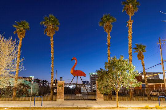 Flamingo art statue near Container Park